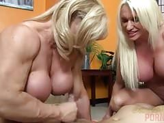 Naked Female Bodybuilders Sex Up Lucky Dude's Thumb