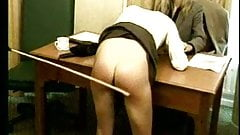 Casting turns into hard spanking & caning session (vintage)