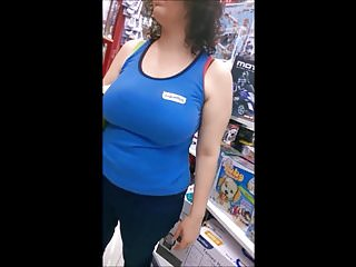 Candid Boobs: Thick Busty White Women (Blue Tops) 1