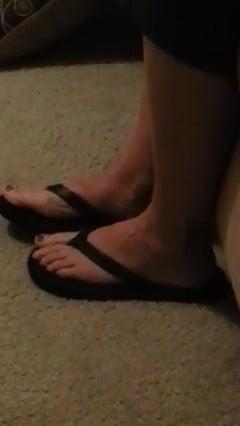 MILF feet walking away in cummed in flip flops
