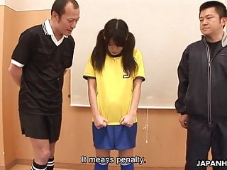 Asian soccer player getting fucked by her coaches