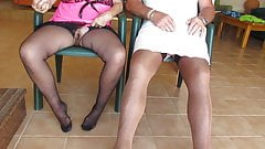 wife and i wanking in our nylon slips