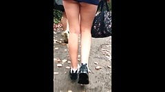 Candid Uni Teen Miniskirt, Upskirt Panty and Bare Teen Legs