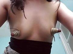 Long big  nipples tied