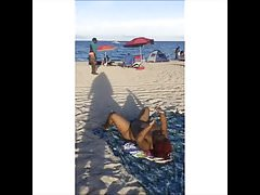 Black BBW Showing on the Beach