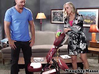 Blonde milf riding and cocksucking masseuse