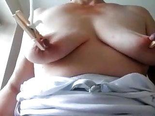 Kinky Mature Woman Enjoying Her Nipples Being Pegged