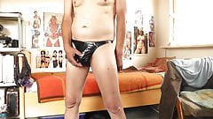 sexy lackstring schwarz