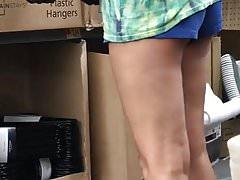 White teen teasing in booty shorts