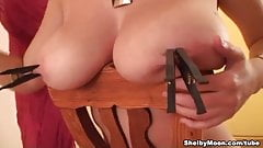 Shelby Moon gets clothes pins on her nipples!
