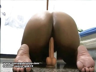Hottie Riding a Dildo Till she Gets Anal Orgasms