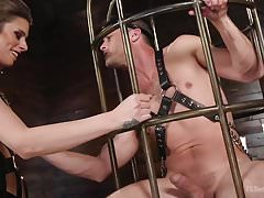 Tall TS Domme Punishes Beefcake Lance
