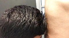 Teen boy sucks cock in public toilet