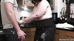 Bbw cheating cock riding and sucking on kitchen's Thumb