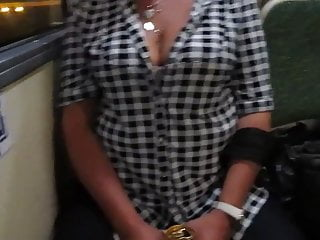 Tits n bras - Touching her big tits n a bus