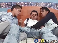 Nasty latino butt pirates have a sexy threeway in bed