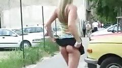 dirty public slut flashing, shot trim