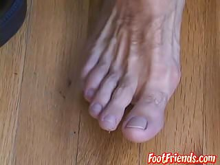Sexy gay dude Cole wishes you could cum on his hairy feet