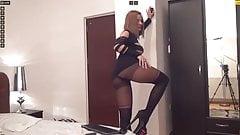 Russian MILF slut in overknee and short skirt