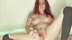 Horny Teen Gets A Creampie From A Dildo