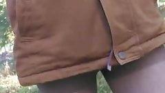 autumn walk in pantyhose