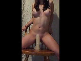 fucked by a chair with a 8 inch dildo 2