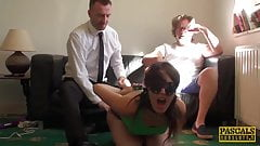 Blindfolded sub Liz Rainbow choked and destroyed by Pascal's Thumb