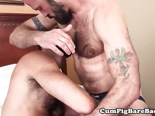 Preview 1 of Hairy wolf barebacked in threeway