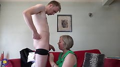 Home sex with lovely mature mom and son