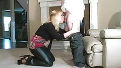 Hot Babe BJ in Leather Pants and Heels