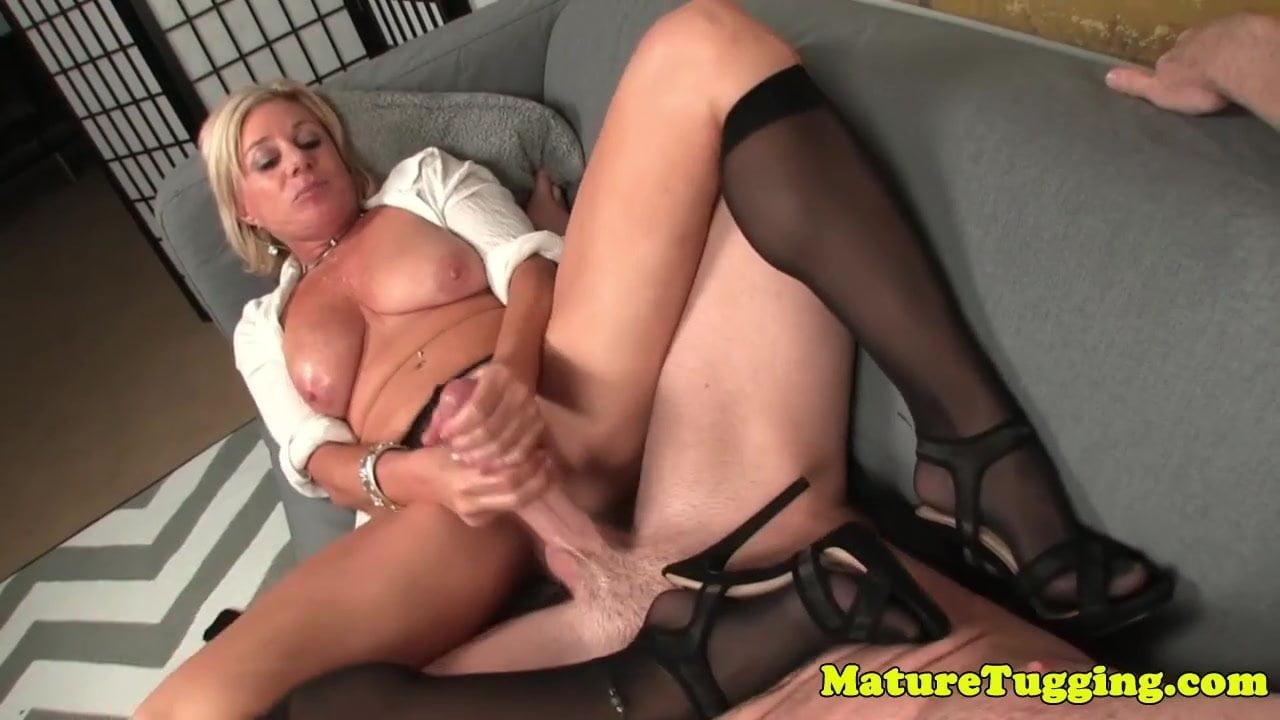 Sexy pornstar tugging cock for the camera