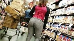 Uptown Shopping Creep Shots ebony tight booty grey leggings