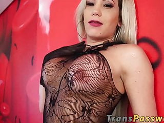 Naughty latina receives passionate dicking from hung tgirl