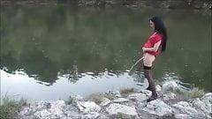 Desperate Slut Pees on a calm Lake