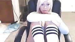 Very cute blonde fools around on cam