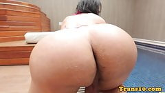 Busty latina tgirl doggystyled in spa