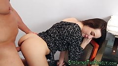 Tiny whore rides stepdad