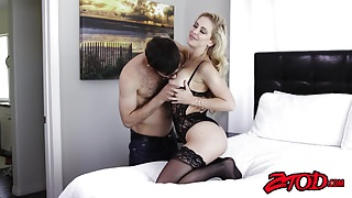 Sexy cougar Cherie DeVille titty fucks before getting banged