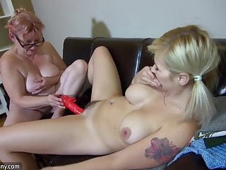 OldNanny Hot step-mom lesbian fuck with strapon