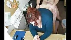 BBW redhead fucked at her desk