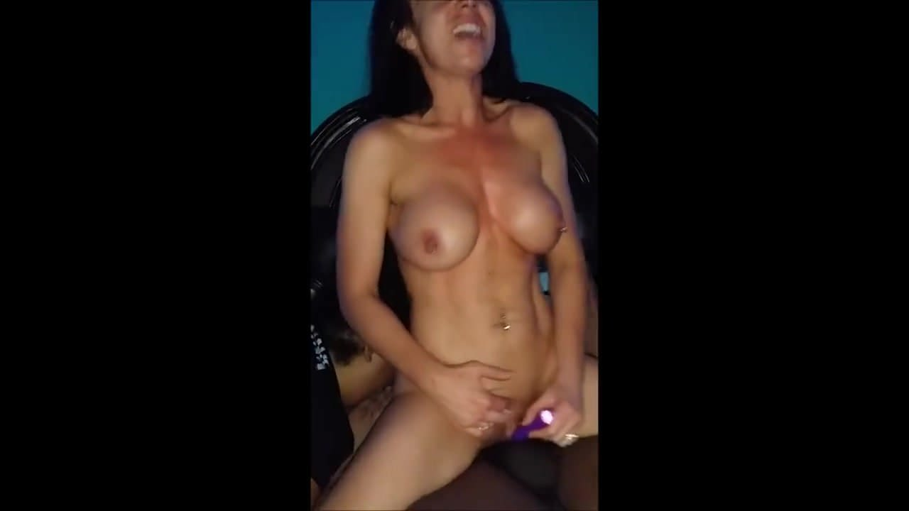 Big Boobs Babe Screwed by Toy on Black Sofa Indoor