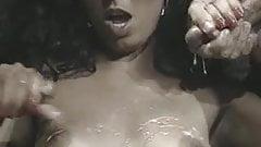 Double cumshot on beauties titties