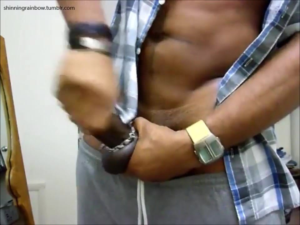 Ripped ebony stud jerking his bbc