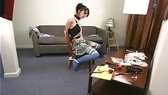Sexy School Girl Chair Struggle
