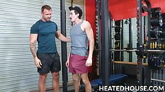 Mustache jock ass plowed by hunky gym buddy