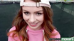 Cute teen Alexa Blake takes cash to fuck in public POV style