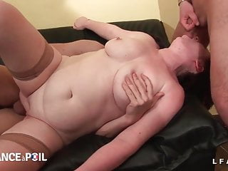 BBW French milf cougar double teamed and fist fucked