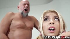 Voluptuous slut serves as a granny for a perverted older man