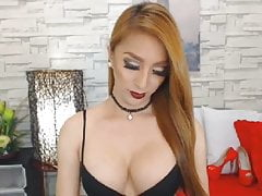 Fierce Blonde Shemale Shows Off Webcam Show