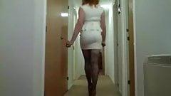 Rachel in a sexy white Lipsy dress